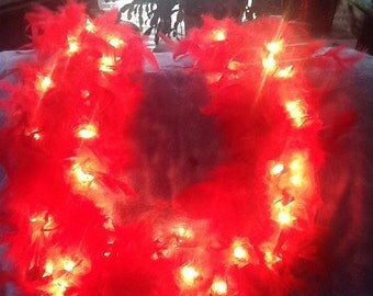 Romantic RED FEATHER Lighted SWAG Garland 9 feet long