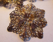 Vintage Brass Coated Steel Filigree Findings Shabby Style Lovely Patina (1)