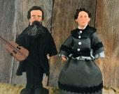 Charles and Caroline Ingalls Doll Miniature Set Historical Pioneers Parents of Laura Ingalls Wilder