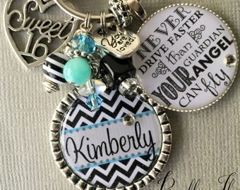 Sweet 16 personalized gift, charm keychain Chevron birthday gift, never drive faster than your guardian angel can fly, Jesus take the wheel