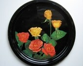 Vintage Round Metal Tray - Photograph - Roses - Red Roses - Yellow Roses - Housewares - Home Decor - Kitchen