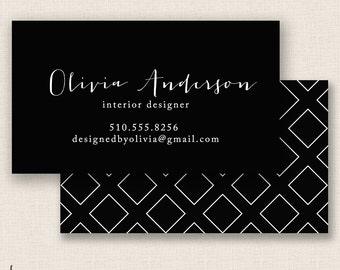 BLACK DIAMONDS - Double Sided - DIY Printable Business Card Template