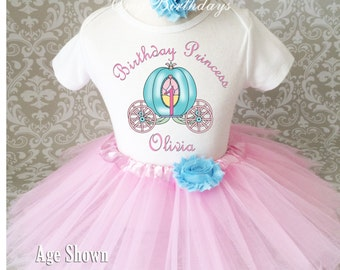 Princess Carriage Pink Blue first 1st 2nd 3rd 4th 5th 6th 7th Birthday Personalized Custom Name Age Shirt & Tutu Set Girl Outfit