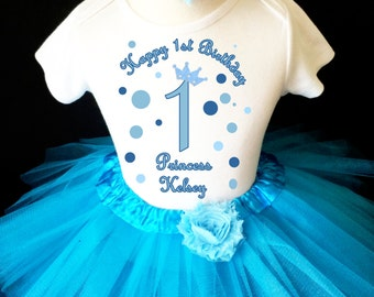 Princess Crown Blue Polka dots 1st First Girl Birthday Tutu Outfit Custom Personalized Name Age Party Shirt Set