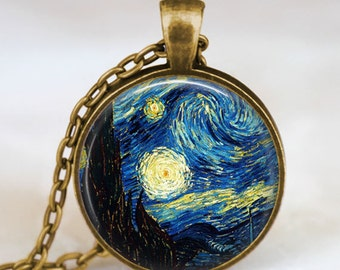 Van Gogh Starry Night  pendant , Van Gogh necklace charm, Van Gogh jewelry, glass dome pendant