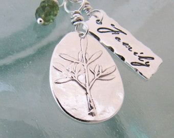 Handcrafted Family Tree Charm Necklace in Silver