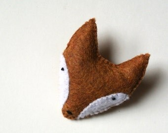 Fox Felt Brooch Fox Felt Pin Mother's day Gift for Her Golden Brown Fox Jewelry Unique Handmade Jewelry Woodland Animal Fashion Accessory