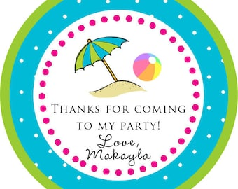 Pool Party BBQ Beach Summer Party Thank You PERSONALIZED Stickers, Tags, Labels, or Cupcake Toppers, various sizes, printed & shipped