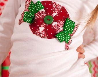 """Girls Christmas Peppermints """"SWeET TReATS"""" tee shirt available in size 6-12-18-24 mth. 2T, 3/ 4T, 5/ 6T, 7/8"""