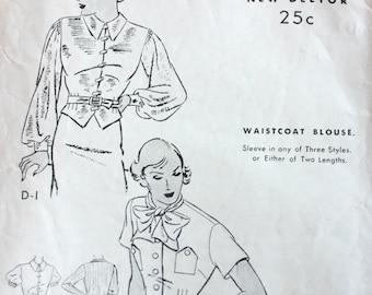 "1930s Blouse Pattern / Butterick 6075 / Bust 34"""