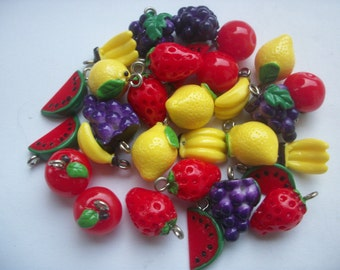 6 Assorted Acrylic Fruit Charms