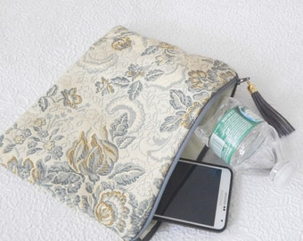 Upholstery pouch,  gold blue pouch, zipper pouch, lined clutch, fashion accessory, womens accessory