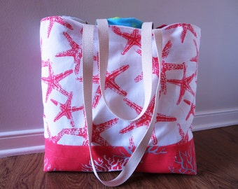 Large Beach Bag - Starfish in Salmon Pink with Coral Beach Tote - Water Resistant Lining - Interior Pocket