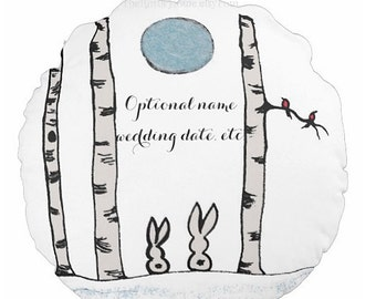 Birch tree bunnies round toss pillow optional personalized or plain wedding new baby home