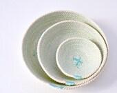 Set of three cotton cord plates in aqua