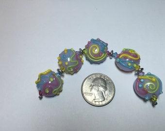 Lampwork  Lentil Beads Pastels SET