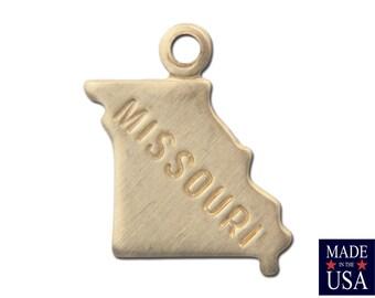 Raw Brass Tiny Missouri State Charm Drops (6) chr201JJ