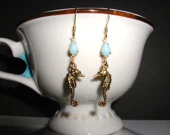 Blue Glass Teardrop Seahorse Dangle Earrings