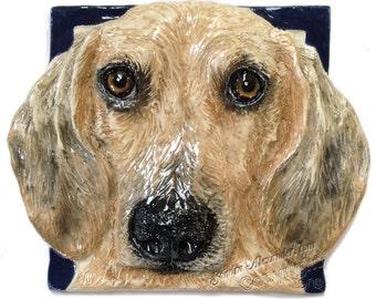 Dachshund Dog Tile CERAMIC Portrait Sculpture 3d Art Tile Plaque FUNCTIONAL ART by Sondra Alexander In Stock ready to ship