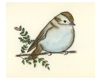 Bird decor  art print Fluffy Sparrow  - 4 X 6 print - 4 for 3 Sale