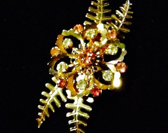 Brooch, Vintage Pin, Lovely Vintage Gold Tone Floral With Pink And Clear Crystal Accents, Free Shipping
