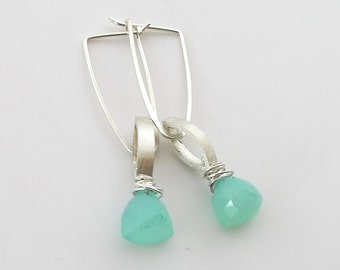Sterling Silver and Peruvian Chalcedony Earrings - E1433