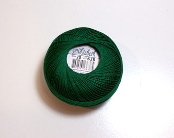 Green Tatting Thread, Lizbeth Size 20 Cotton Crochet Thread, Christmas Green, Color number 638