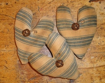 Vintage Ticking Hearts | Antique Ticking Hearts | Old Ticking Hearts | Primitive Hearts | Striped Fabric Hearts | SET OF 3