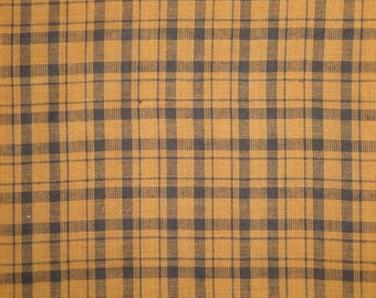 Plaid Fabric | Homespun Fabric | Cotton Fabric |  Brown And Black Plaid Fabric |  1 Yard