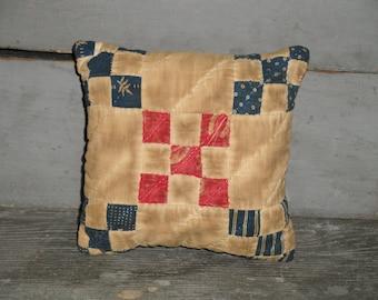 Old Quilt Pillow | Vintage Quilt Pillow | Antique Quilt Pillow | Primitive Pillow | Cupboard Tuck | Shelf Sitter | Small Quilt Pillow