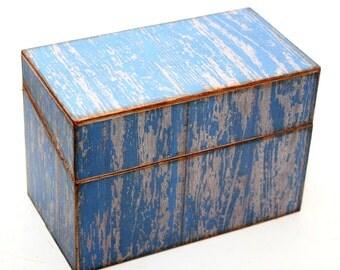 Wood Recipe Box Barn Wood Blue Kitchen Storage Fits 4x6 Recipe Cards
