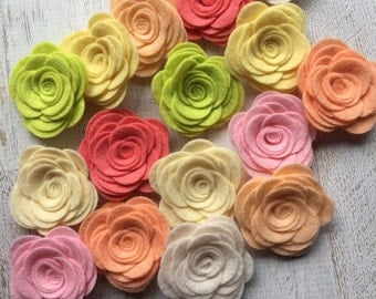 """Wool Felt Flowers - Large Posies """"Light & Airy Collection"""" - Set of 16"""