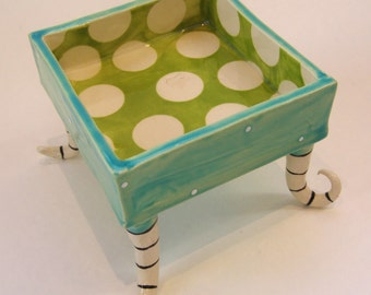 light turquoise & Limey green pottery Dish serving bowl, Aqua Beach Kitchen Decor polka-dots curly striped beetlejuice feet