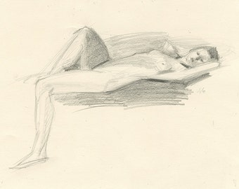 Original Charcoal Life Drawing of Female Nude Figure - Woman Reclining