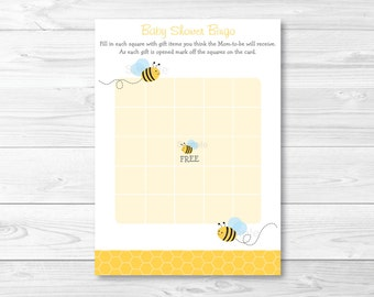 Bumble Bee Baby Shower Bingo Cards INSTANT DOWNLOAD