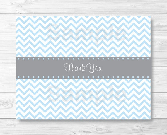 cute chevron thank you card chevron pattern baby blue grey
