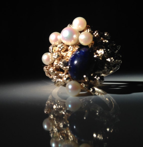 1970s 14 KT Gold Pearl Lapis Cluster Cocktail Ring 585 Atomic