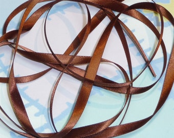 FRIAR BROWN DouBLe FaCeD SaTiN RiBBoN, Polyester 1/4 inch wide, 5 Yards