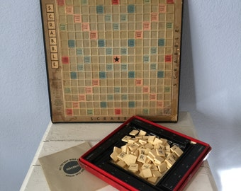 Vintage Scrabble Game Deluxe Edition - Scoring Racks and Pins - Plastic Tiles - Complete - 1950s