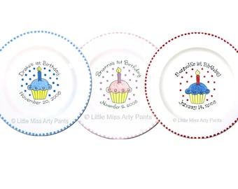 11 inch PERSONALIZED Birthday Cupcake Plate - Hand Painted Signature Birthday Plate with Marker for signing