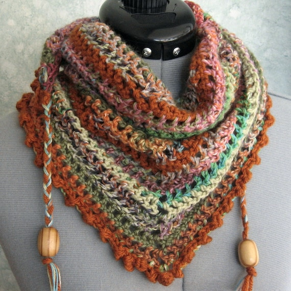 Crochet Scarf Pattern With Beads : Crochet Scarf Pattern With Bead Trim Easy To Make Instant