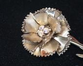 Gold & Crystal Carnation Brooch