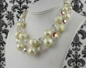 ice and cream, vintage 1960s pearl & crystal multistrand necklace - 60s cocktail party, double strand, ivory, statement, something old