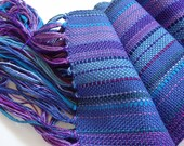 handwoven scarf in a blend of beautiful purples and blue