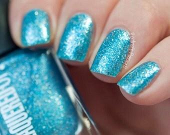 Hawaii// Handmade Neon Blue// Sterling Silver Flakie Nail Polish// Cruelty Free