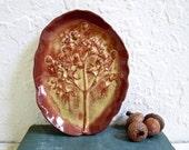 Ceramic Tree of Life Soap Dish, Stoneware Pottery, Trinket Dish with Garden Flowers Handmade Pottery