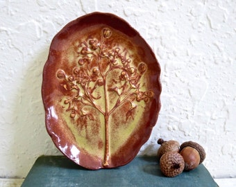 Ceramic Tree of Life Soap Dish, Stoneware Pottery, Trinket Dish with Garden Flowers Handmade Pottery