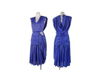 Vintage 80s Dress - Purple Dress - 80s Ruched Dress - 80s Party Dress - Disco Dress - Exposed Back - Purple Dress - 80s Purple Dress - L  XL