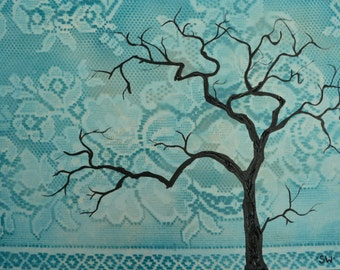 Bohemian Turquoise Lace Tree Silhouette Original Painting