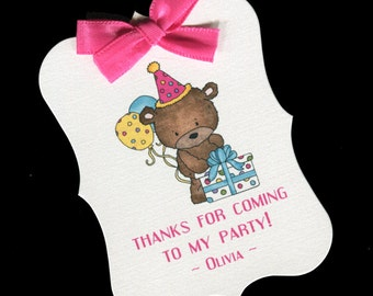 Girls Birthday Party Favor Tags - First Birthday - BIrthday Party Tags - Girls Birthday Tag - Personalized Tag - Party Favor Tag - Bear -20